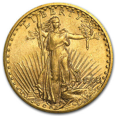 1908-D $20 Saint-Gaudens Gold Double Eagle No Motto AU - SKU#7430