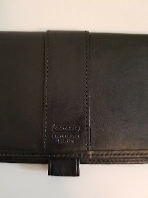 Coach vintage check book holder.  Black Leather. Rare