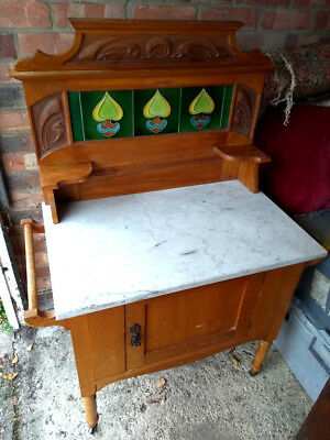 Victorian Antique Wash Stand with Marble Top and Original Tiles.