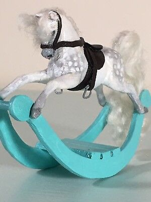 Dollhouse Miniature Rocking Horse 1:12 Scale Handmade Ooak Artisan Sculpture