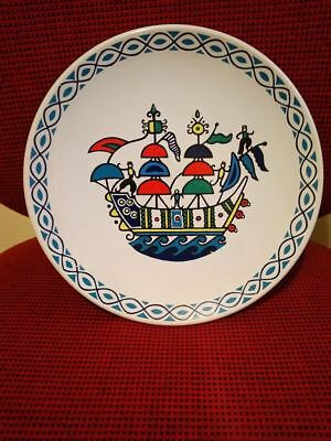 "Vintage Greek Wall Plate Keramikos Decorative Pottery Continental Bank 9.5"" Rare"