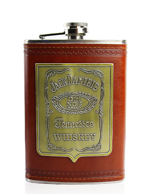 Jack Daniels Old No.7 Whisky Wine Flagon Stainless Steel Hip Flask 9oz Brown