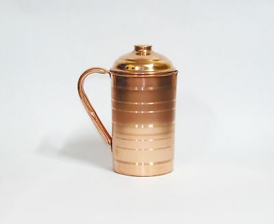 100% Pure Copper Handmade Pitcher Jug Bottle Ayurveda Yoga 2L From India