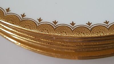 """Set of 14 Mintons Antique White & Gold 9"""" Plates for T Goode London patern G5208"""