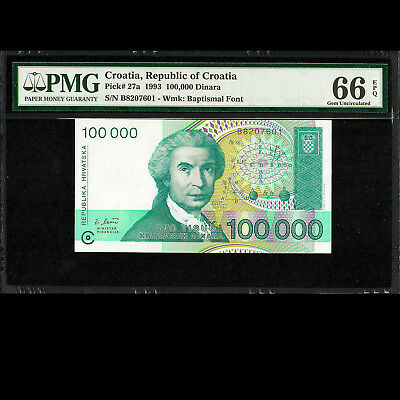 Republic of Croatia 100,000 Dinara 1993 PMG 66 Gem UNC EPQ P-27a