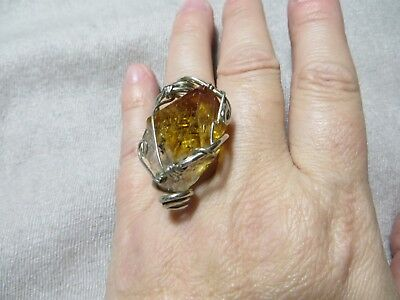 Artisan Large Rock Crystal Stone Hand Silver Wire Wrapped Cocktail Ring s. 6 3/4