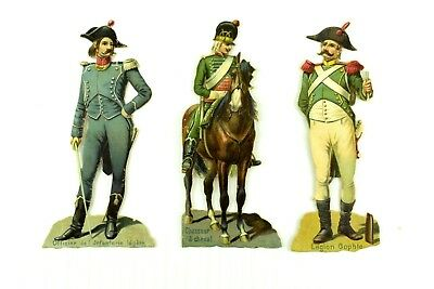 1880's-90's Victorian Die-Cut Lot Of 3 French Soldiers Horse Fabulous! PD393