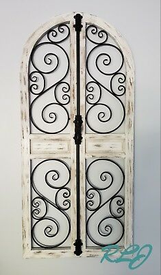 Distressed Vintage French Country Wood Metal Garden Gate Arch Window