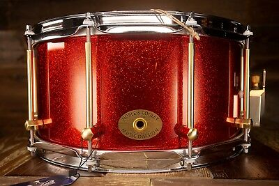 Noble & Cooley 14 X 7 SS Classic Solid Shell Walnut Snare Drum, Red Sparkle