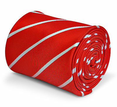 Red Mens Tie with thin White stripes by Frederick Thomas FT3233