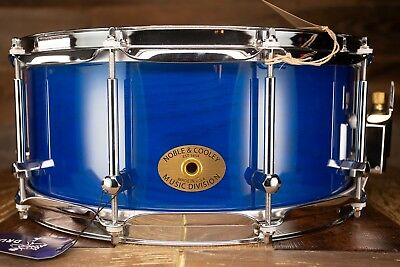 Noble & Cooley 14 X 6 SS Classic Solid Ash Shell Snare Drum, Transparent Blue