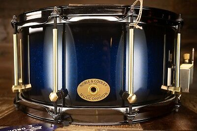 Noble & Cooley 14 X 7 SS Classic Solid Maple Shell Snare Drum Blue Sparkle Burst