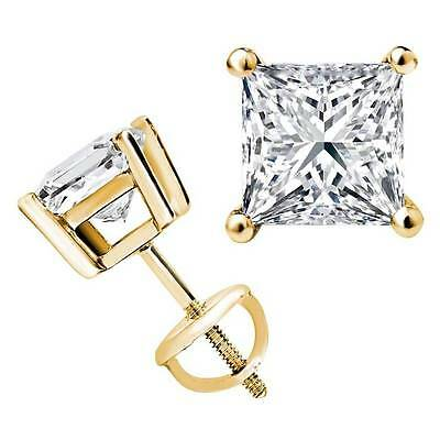 2 Ct. Mens Princess Cut Diamond Single Stud Earring Solid 14K Yellow Gold