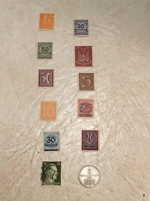 1934 A Germany 2 Marks Silver Coin .625 Potsdam Garrison Church & 11 Stamp Lot