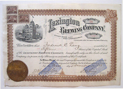 Lexington Brewing Co Beer Stock Certificate 1898 #34