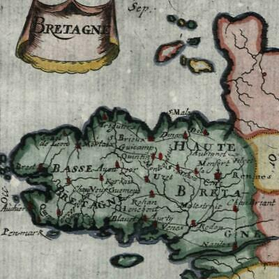 Brittany France Bretagne 1683 Mallet map beautiful hand color