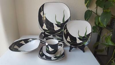 10 Piece Black Lilies Quadrille by Sango Square Dinnerware