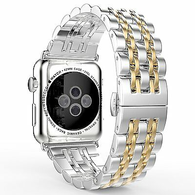 Apple Watch Band Stainless Steel Metal iWatch Bracelet Strap 42mm Silver/Gold