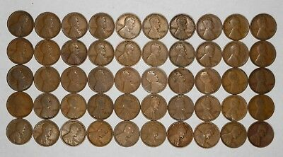 1910 P Lincoln Wheat Cent Penny Average Circ - Fine Full Roll 50 Coins