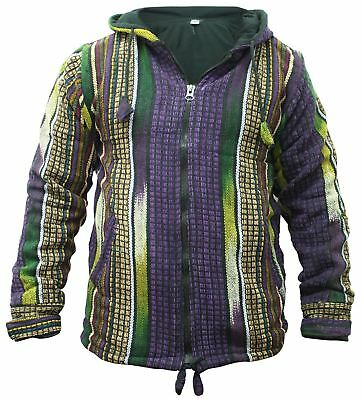 Mens Heavy Cotton Fleece Lined Jacket Hippy WInter Festival Hoodie