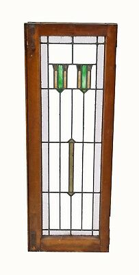Intact Original Early 1920S Tall Narrow Prairie School Leaded Art Glass Chicago