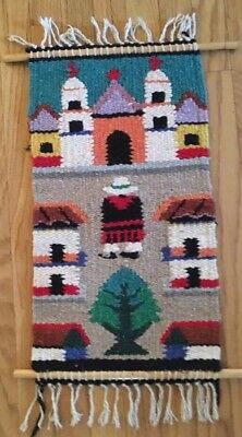 "Vintage Native American Hand Woven Pictorial Rug  22.5"" By 12"""