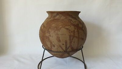 Ancient Chinese Painted Footless Terracotta Jar w Stand 10""