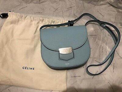 5b48f1117fb0 NWT CELINE Trotteur Crossbody Bag Grained Calfskin Leather Small Pale Bleu