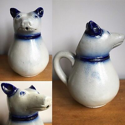 Antique Salt Glazed Bear Jug. Antique Stoneware Bear Jug