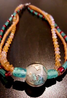 Chinese Dragon Beautiful Amber Blue Glass Three Strand Glass Bead Necklace
