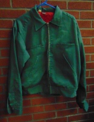 Vintage Dickies Jacket Coat Adult Small Light green with Red inside lining