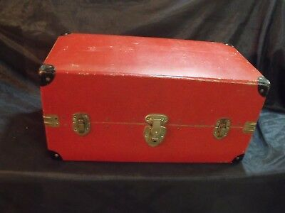 Vintage 30's United States Lines Cruise Ship Red Hardboard Small Steamer Trunk
