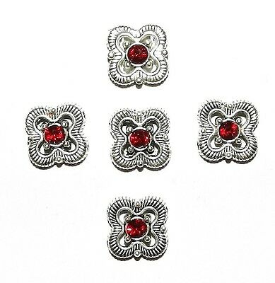 M765 Antiqued Silver 13mm Square Spacer made with Siam Red Swarovski Crystal 5pc