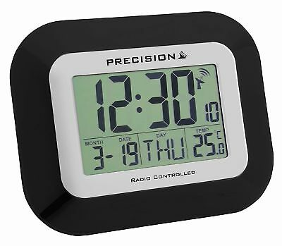 Precision Prec0097 Wall & Desk Radio Controlled Large Screen Lcd Clock Black