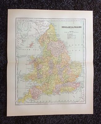 Vintage Original Map 1897 England and Wales, Eaton & Mains