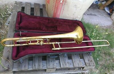 Vincent Bach USA Mercedes II Trombone w/ SKB Case..  Needs some repairs..