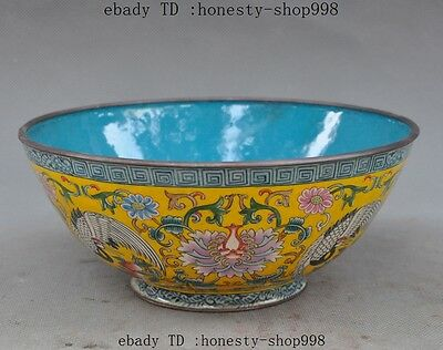 """7""""Old Chinese Dynasty Bronze Cloisonne Enamel Crane bird Flower Lucky bowl cup"""