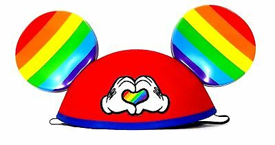 Disney Parks Gay Days Pride Heart Mickey Mouse Rainbow Ears Adult Size Hat NEW