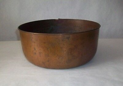 Antique Solid Copper MIxing Bowl Heavy Patina Baking Vintage Old!