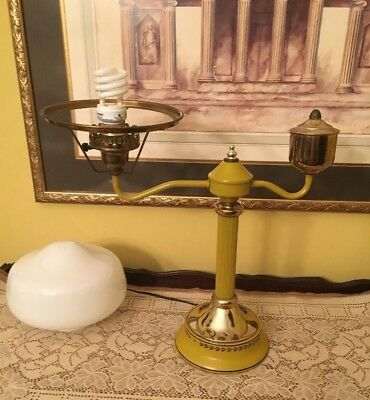 Vintage Toleware lamp-RETRO-Table Student Desk Lamp- Milk Glass Shade
