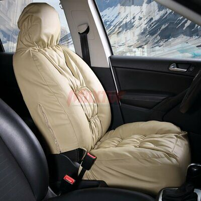 Beige Leatherette Car Front Seat Covers W/ Down Cotton Padding, Ideal For Winter