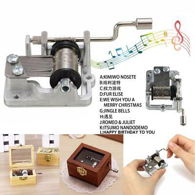 Mini Note Mechanical Hand Crank DIY Music Box Movement Decor Collectible New