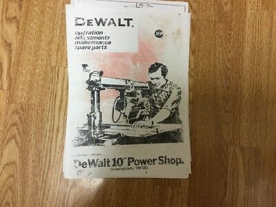 Dewalt Radial Arm Saw Manual/Booklet DW 110 Model Free  Postage