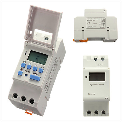 DC12V/DC24V Digital LCD Power Programmable Timer Time Switch Relay 15A 1s/24h