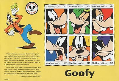 Maldives Goofy Disney Souvenir Sheet of 6 Stamps Mint NH