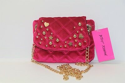 Betsey Johnson Quilty As Charged Fushia Velvet Studded Chain Strap Crossbody  Bag 91f6714c7757b