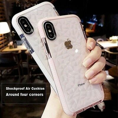 iPhone XS MAX XR X 8 7 Plus Hybrid Shockproof Clear Soft Gel Case+Tempered Glass