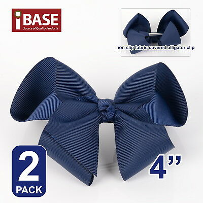 "2x Hair Bows Clip School Girls bow knot Band Ponytail Ribbon Alligator 4"" Blue"