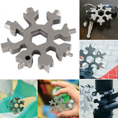 18 in 1 Multi Tool Combination Compact Portable Outdoor Snowflake Card Key Ring