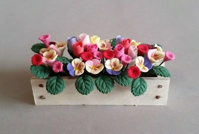 Multi-colored Flowers in Window Box by Bright Delights,Dollhouse Miniature 1:12